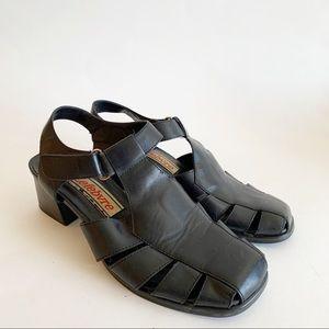 Vtg 90s JB Lefebvre Chunky Block Heel Sandals
